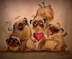 Angelic Pugs by TamiTw