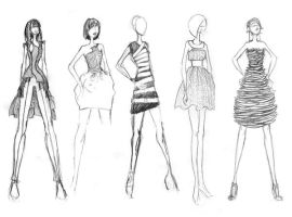 Fashion Sketches 1, misc. by granatmythos