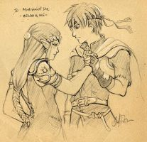 F.Sketch09-4: Ike + Zelda by Asaphira