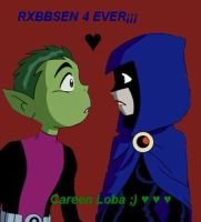beast boy and raven (teen titans) by careenloba