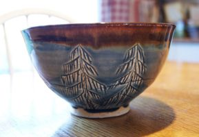 Blue Pine Tree Themed Ceramic Bowl by ashynekosan