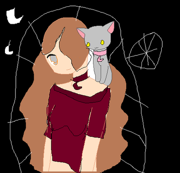 Miss.A with a cat by AngelVonSchroeder