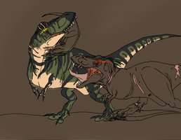 Rex and 522 huntingWIP by RexT-Rex