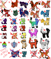 OLD ADOPTS- REALLY CHEAP by Kiraco-Ziieeria