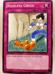 Altered Yugioh Art Reckless Greed as Vegeta by OmegaGrunt93
