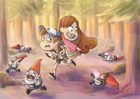 Pines Twins Gnome Fight by CharlotteMosey
