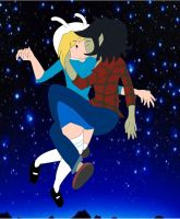 Fionna and Marshall lee kiss 2 by MarcelineVampire15