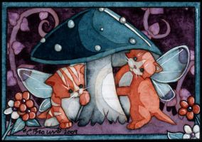 Kittens and mushroom ACEO by candcfantasyart