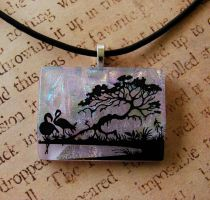 Flamingo Grove Glass Pendant by FusedElegance
