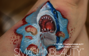 3D Jaws Shark Makeup Tutorial by smashinbeauty