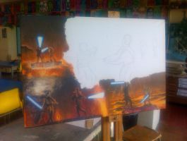 Anakin vs Obi-wan canvas WIP 3 by Galbatore