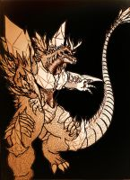 SpaceGodzilla-Perfect lined by THE-CHAOS-BRINGER