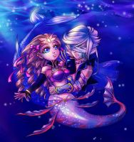 Couple art Gaia Mermaids by sonialeong