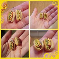 Hotdog earrings close ups by lily-inabottle