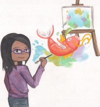 I like painting with watercolors by ChibiJirachi