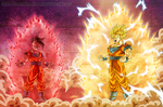 Commission: DragonBall Multiverse - Uub Vs Goku by HomolaGabor
