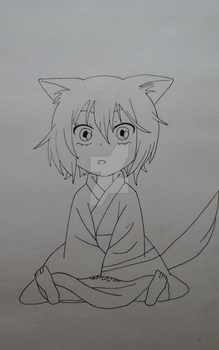 Chibi Tomoe -lineart by Extraestelar