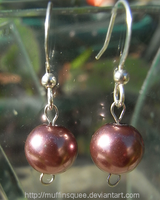 Brown Pearl Earrings by MuffinSquee