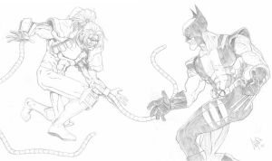 Wolverine vs. Omega Red by peetietang