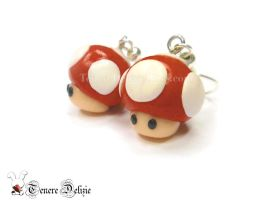 Super Mario mushroom earrings by TenereDelizie