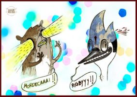 Laser Rigby and Shot Mordecai by LASILFIDEOSCURA