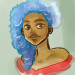Girl with Blue Hair by wishingchair