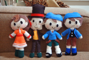 Professor Layton Plushies by Pinkproposal