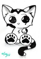 Black and white kitty by thatcutekitty
