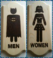 Woodburnings - Washroom Signs - Men and Women by Stepher17