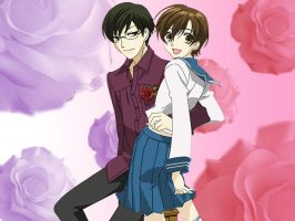 Kyoya and Haruhi by marigoldc4ever