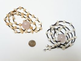 Shikon no tama: rose quartz + pearls by wombat1138