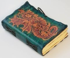 Blue Leather Journal With red dragon by gildbookbinders