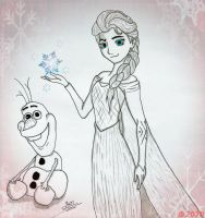 .: Elsa and Olaf :. by JoJoAsakura