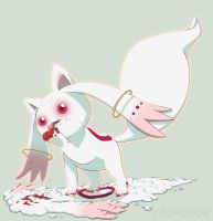 Kyubey eating... Kyubey by Cachomon