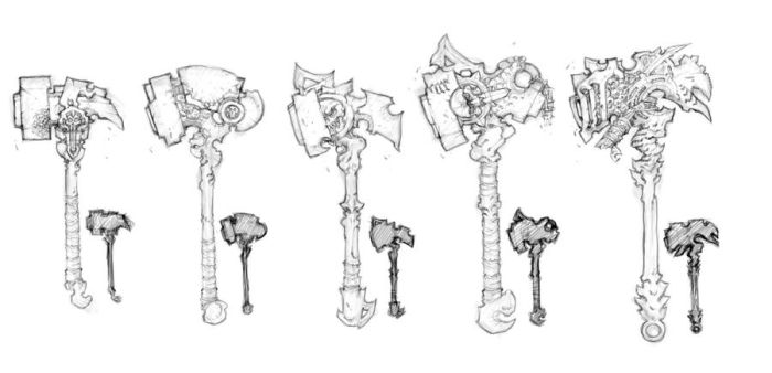 Darksiders II weapon concepts Hammers 1 by DawidFrederik