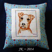 Vintage Terrier Cross-Stitch - Completed Pillow by VampirateMace
