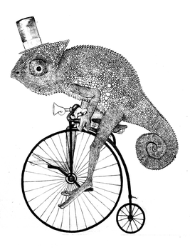 Chameleon riding a penny fathering by Coffeehouseartist