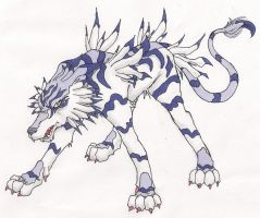 Garurumon Scanned Drawing by smaragdweiss