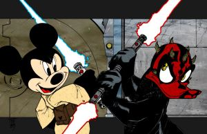 Jedi Mickey vs Darth Duck by jmascia