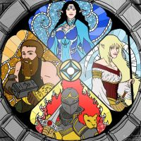 Stained glass of four gods by Xpuk