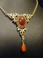 framed persian carnelian in gold necklace by BacktoEarthCreations