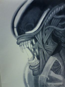 Xenomorph copic drawing by nocturnalMoTH