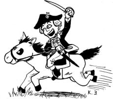 George Washington on a Horse by Penguinton