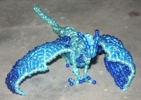 Beaded blue chinese dragon by Anabiyeni