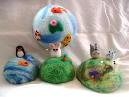 Needle Felted Pin Cushions by P-isfor-Plushes