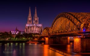 Cologne - The cathedral and Hohenzollern Bridge by roman-gp