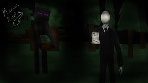 Slenderman and Enderman by aureliomarcos