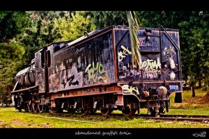 abandoned graffiti train by archonGX