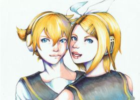 Kagamine Twins portrait style by mikanrock