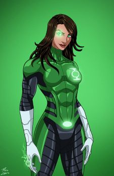 Green Lantern [Jessica Cruz] (Earth-27) commission by phil-cho